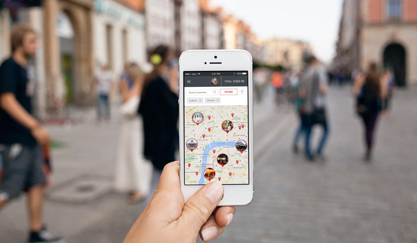 TripConsul website itinerary builder map screen UI design and development on mobile