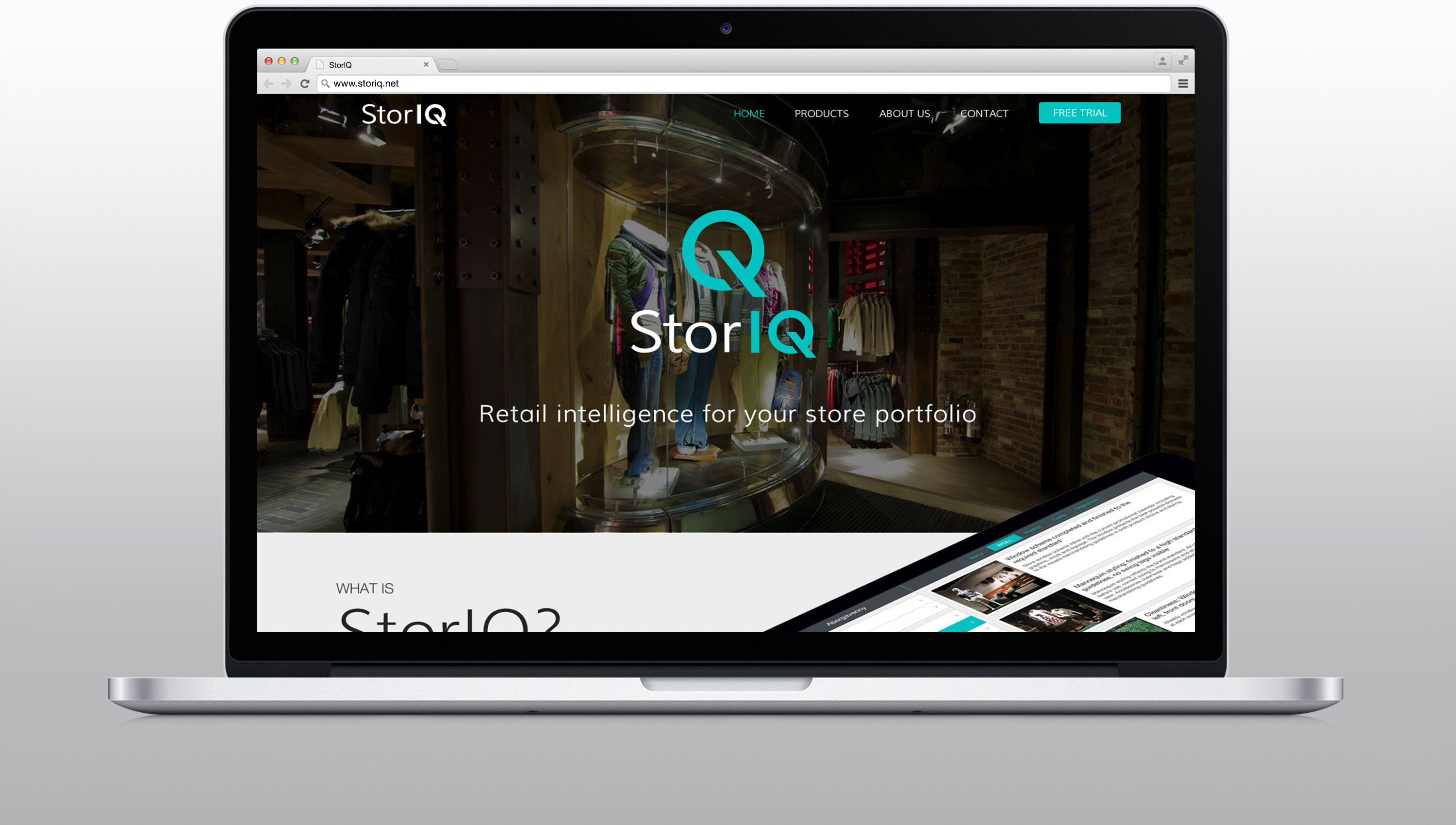 StorIQ website home page design and development on desktop