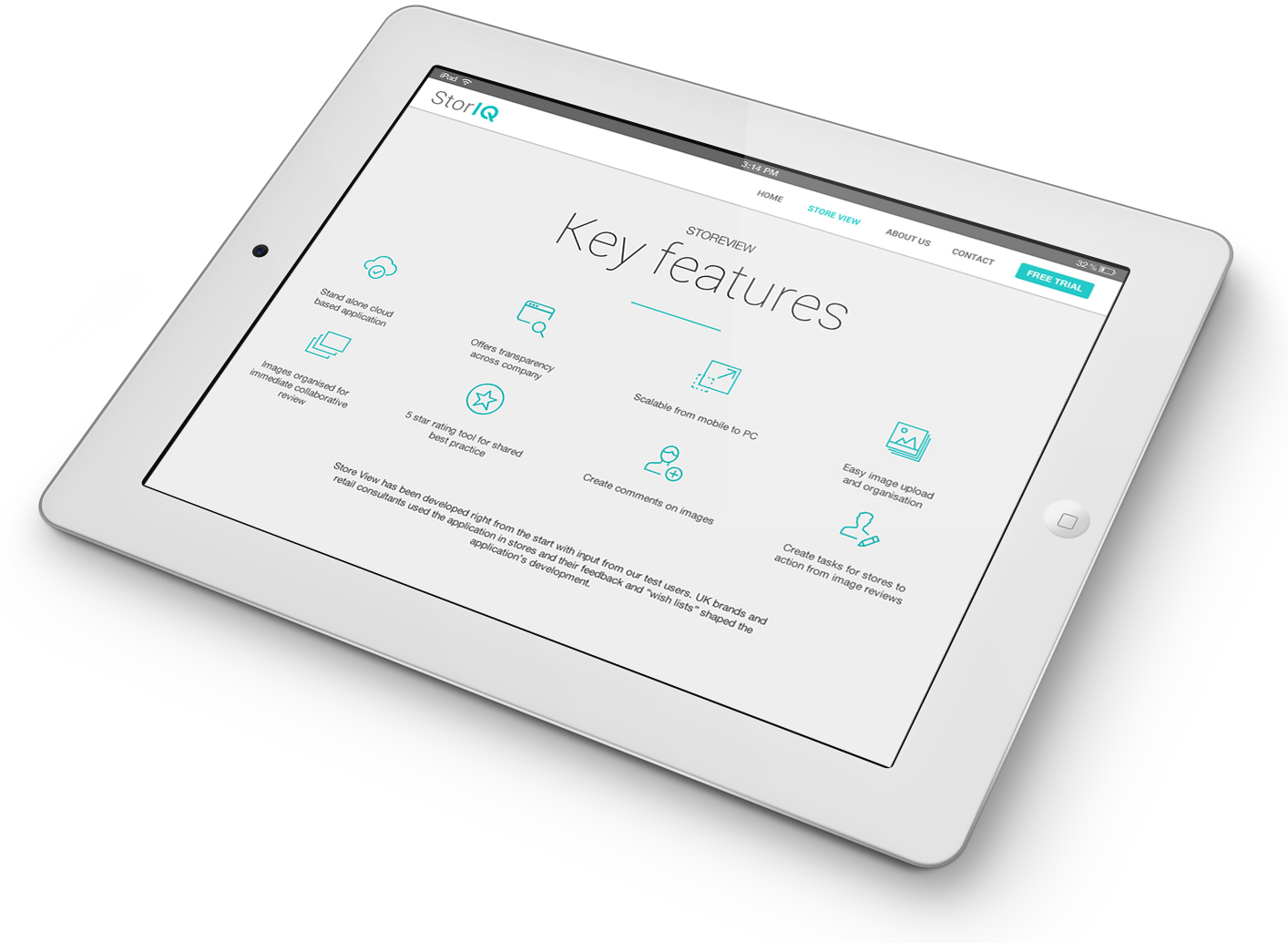 StorIQ website design and development on iPad