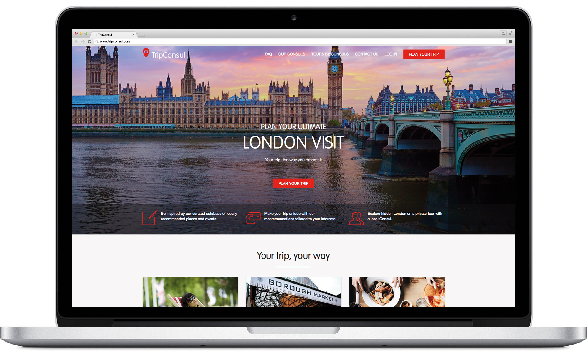 TripConsul customer-facing website masthead design and development on desktop
