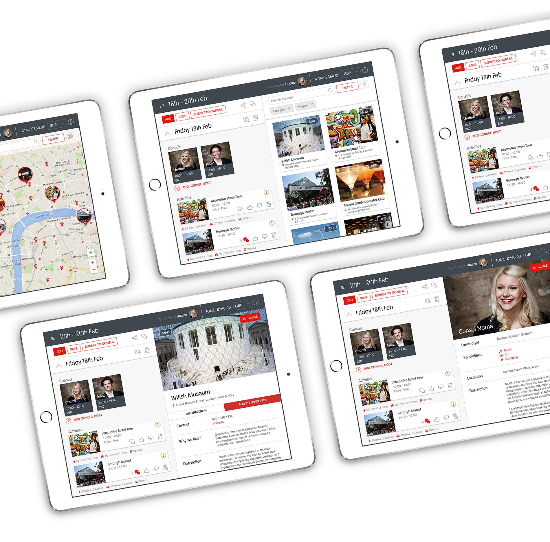 TripConsul website itinerary planner design and development on iPad