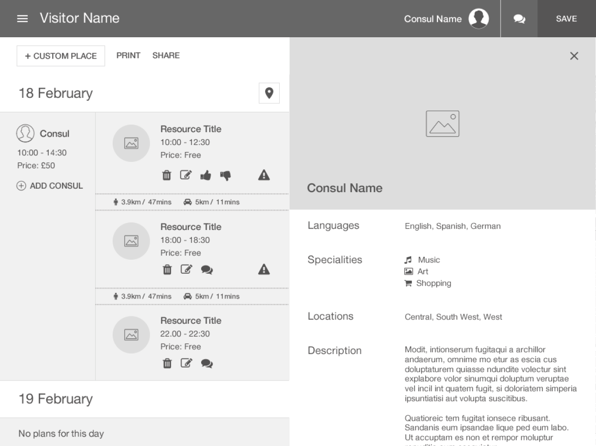 TripConsul website itinerary planner information wireframe