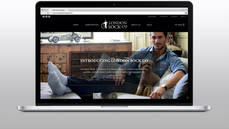 London Sock Company website masthead design and development on desktop