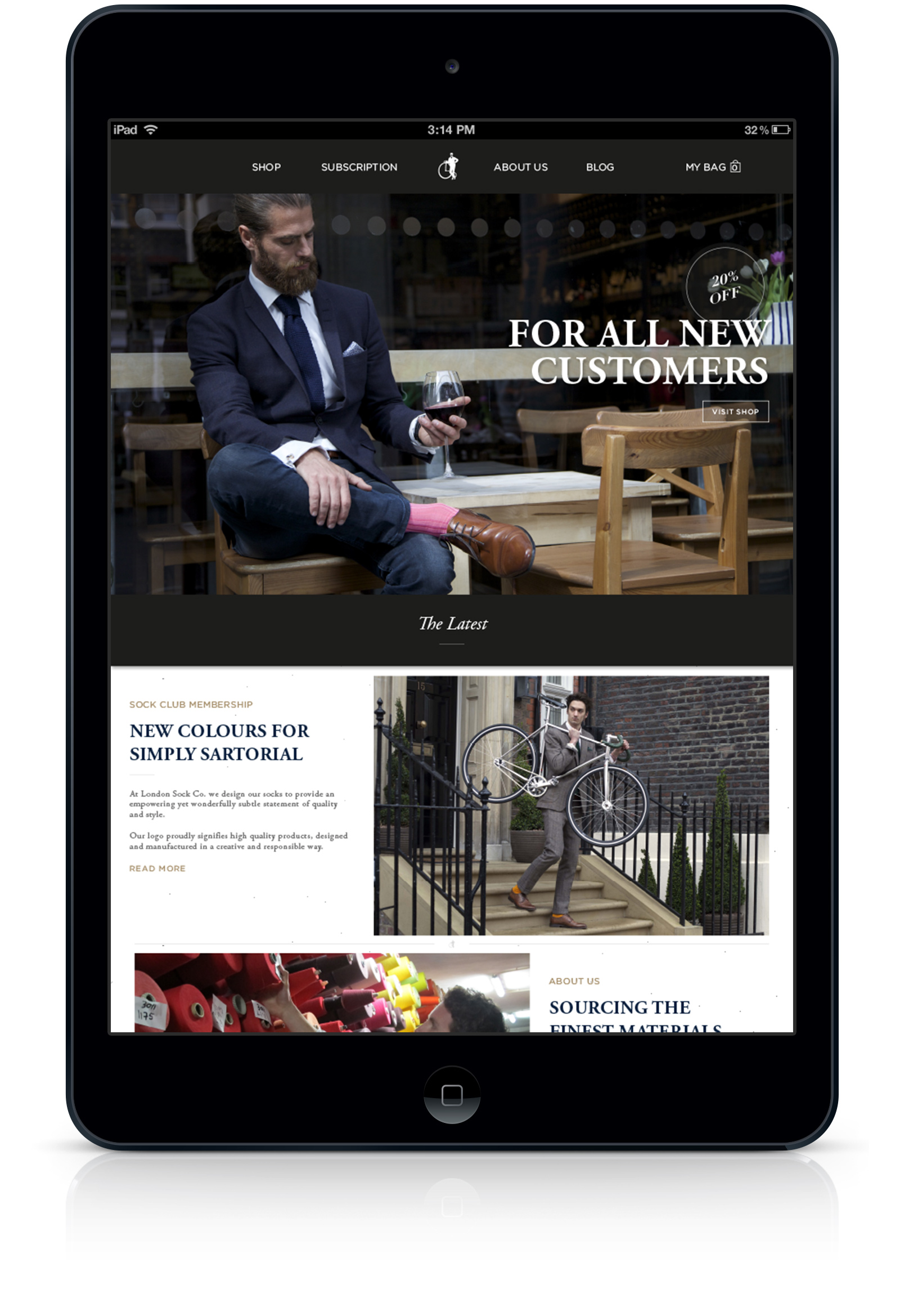 London Sock Company website home page design and development on iPad