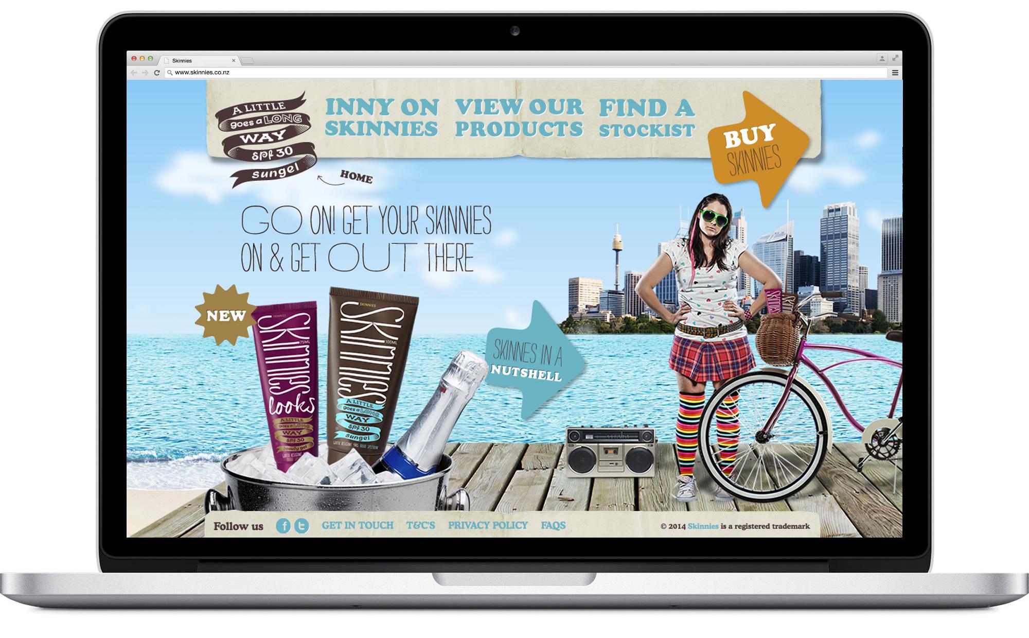 Skinnies website home page design and development on desktop