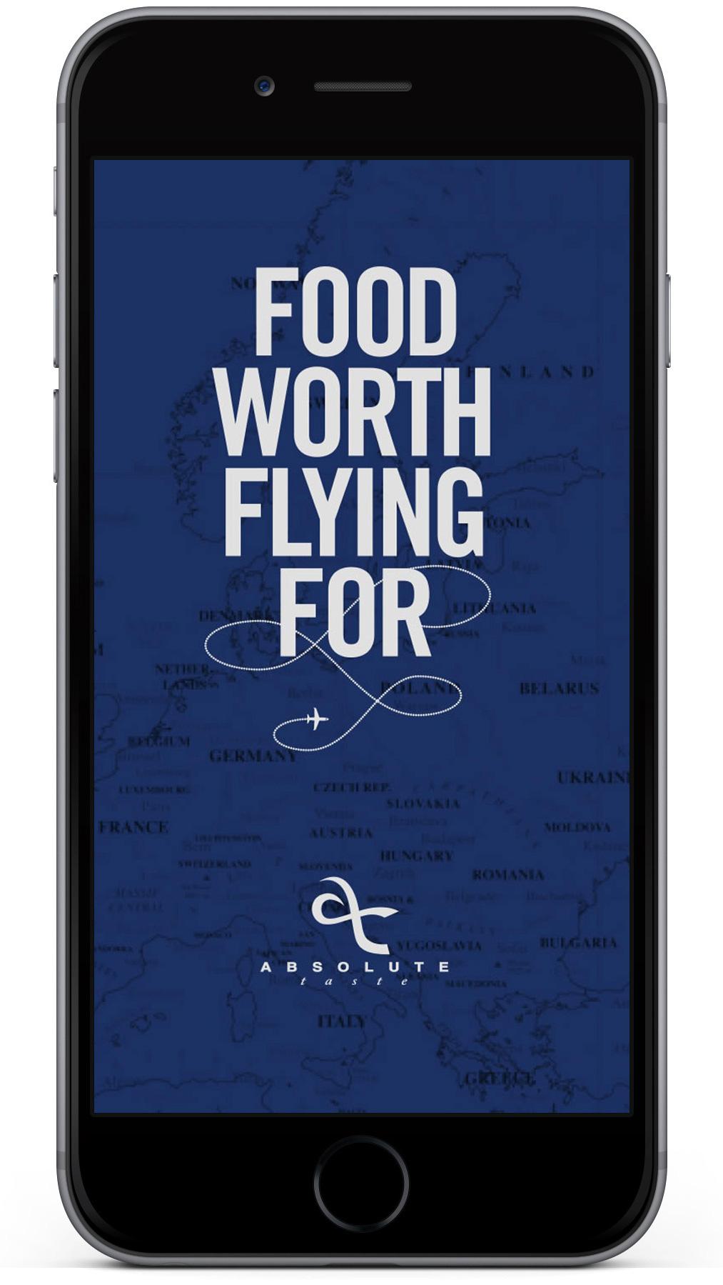 Absolute Taste app splash page design on mobile