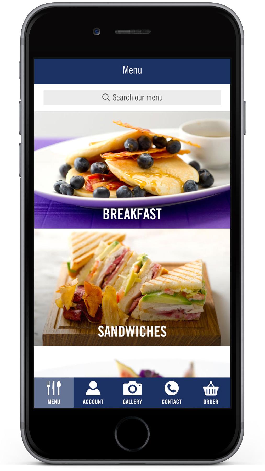 Absolute Taste app menu design on mobile