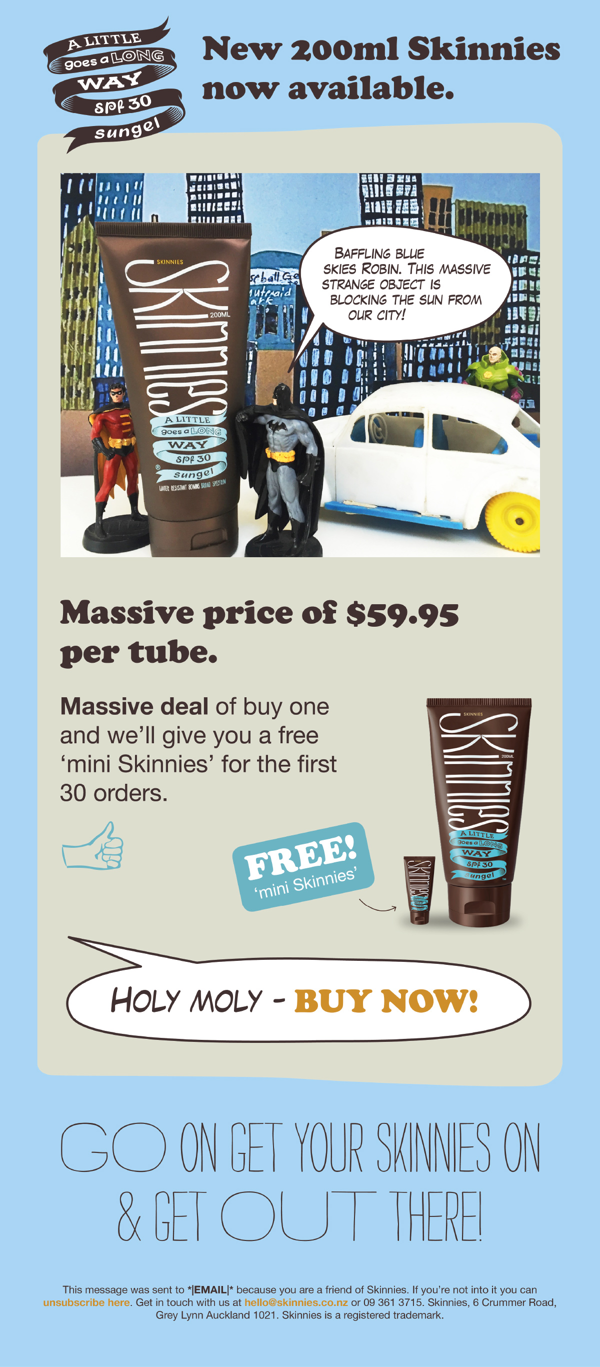 Skinnies Batman and Robin promotional email design and development