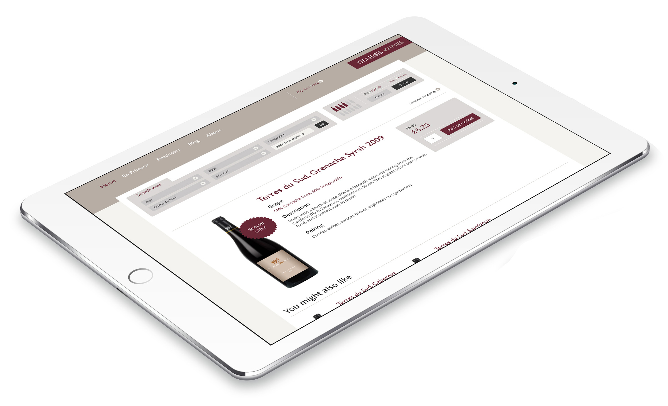 Genesis Wines website design and development on iPad