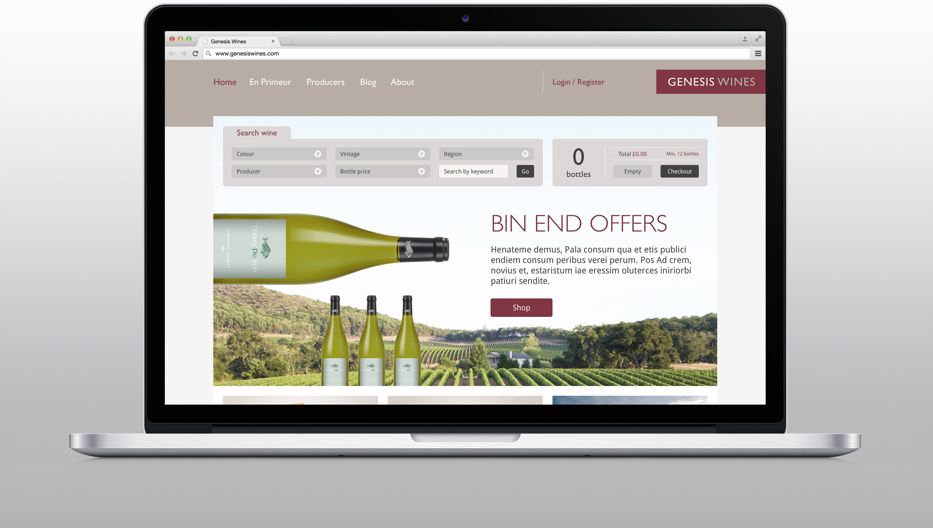 Genesis Wines website home page design and development on desktop