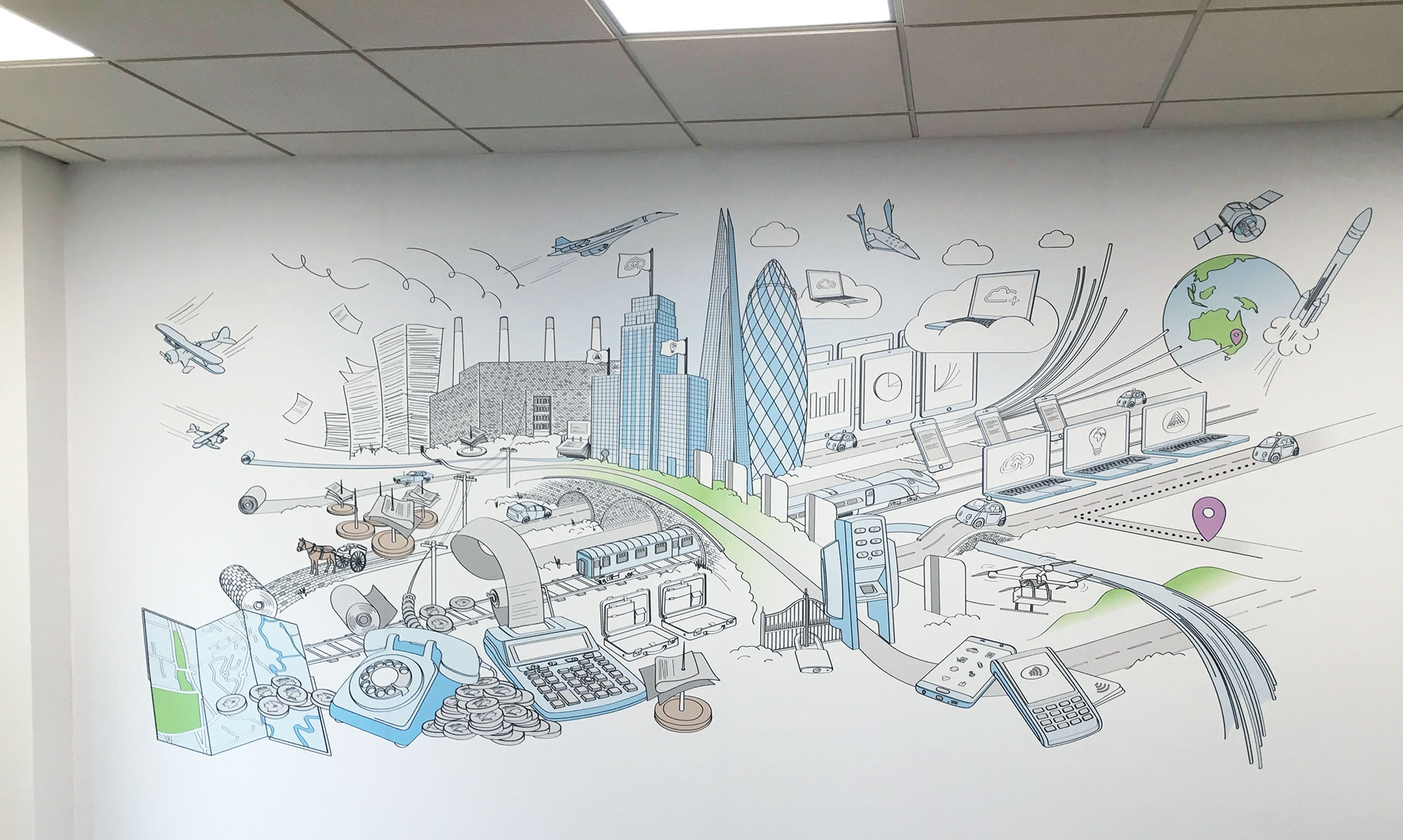 Webexpenses wall mural illustration