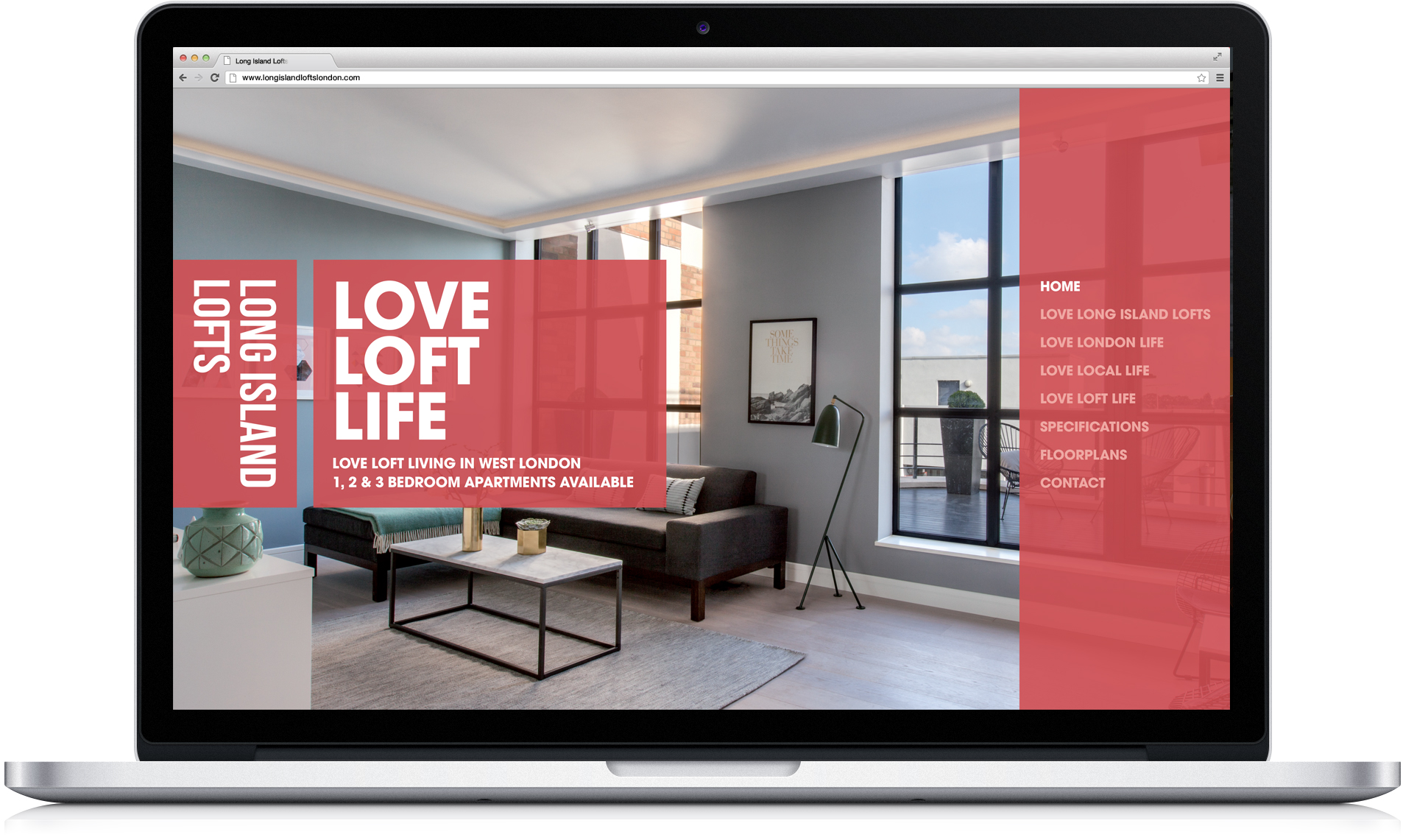 Luxury London property responsive website home page design and development on laptop