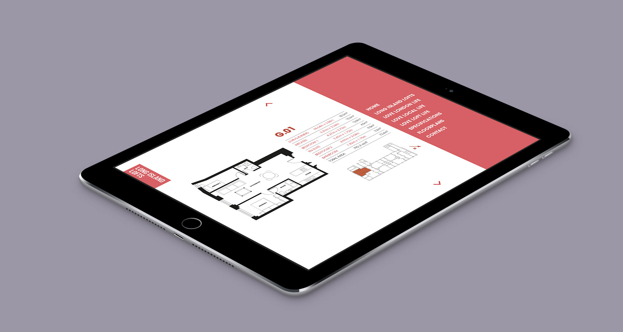 Luxury London property responsive website design and development on iPad