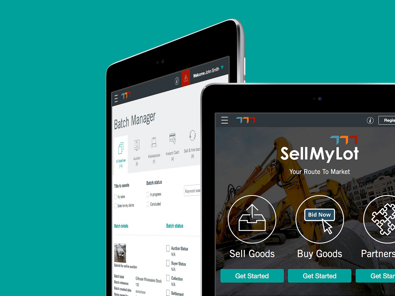 SellMyLot website user interface design and development screens on iPads