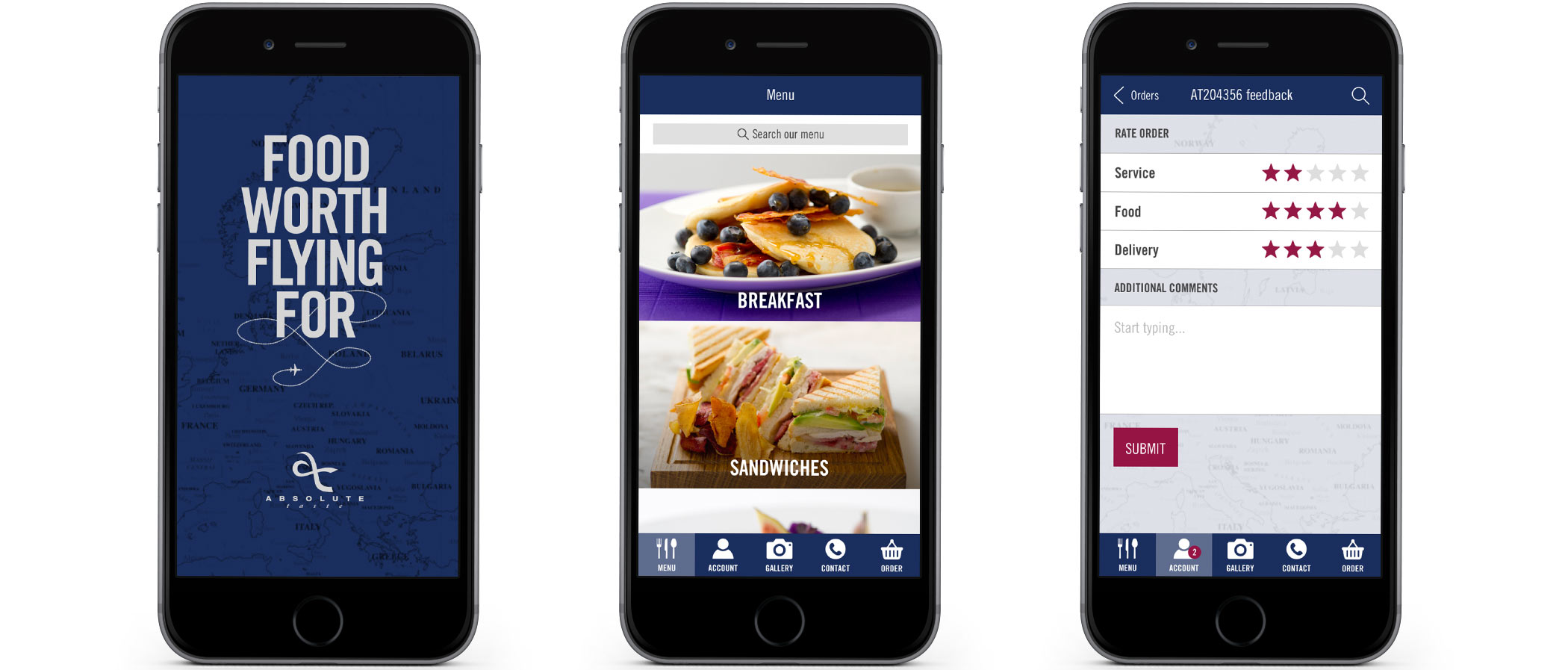 Absolute Taste native app design shown on smart phone