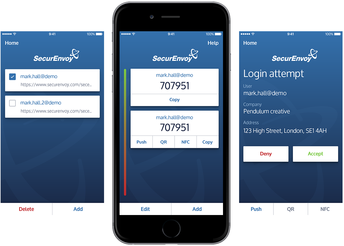 SecurEnvoy mobile app screens