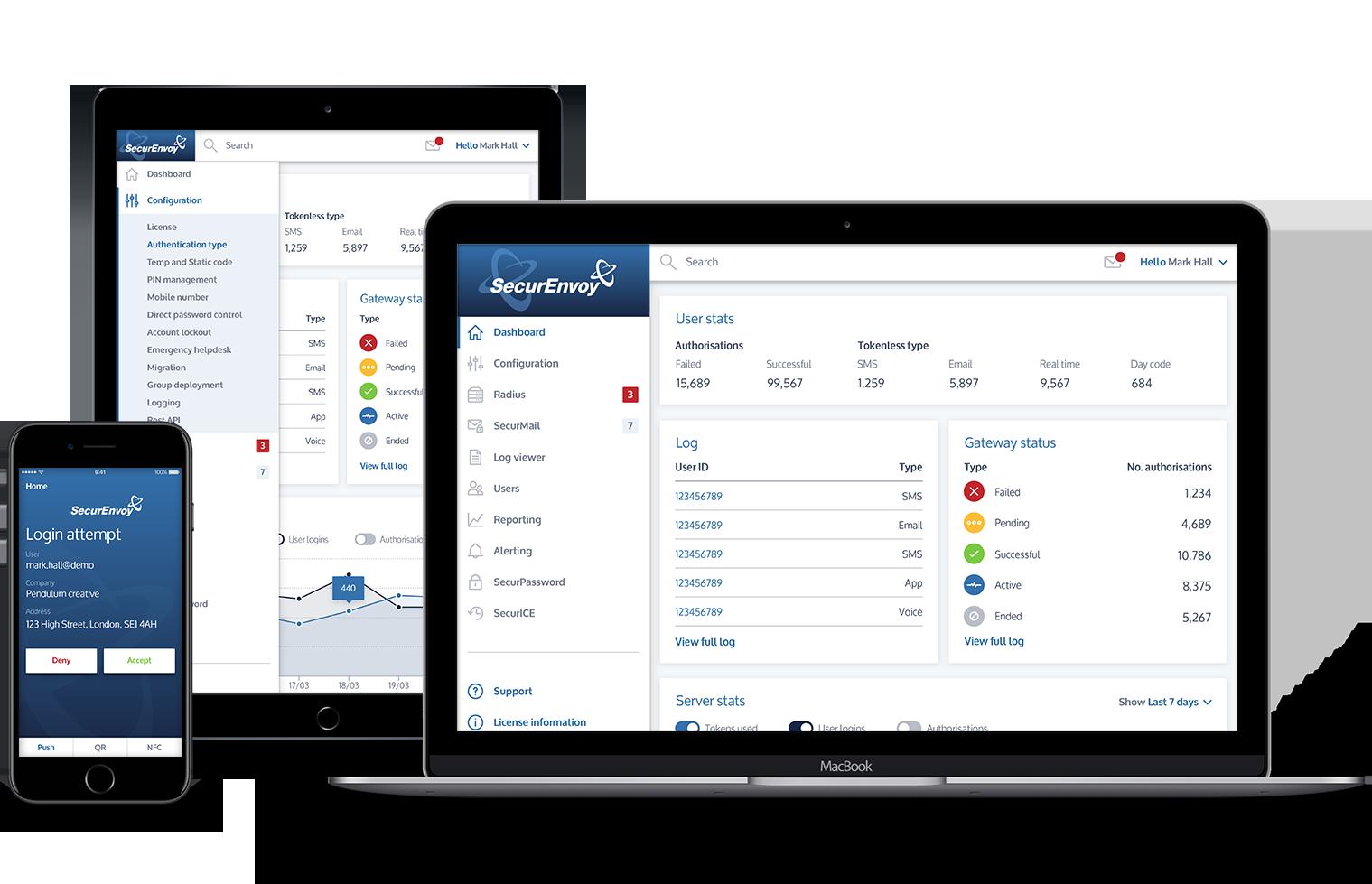 SecurEnvoy multiple device layout