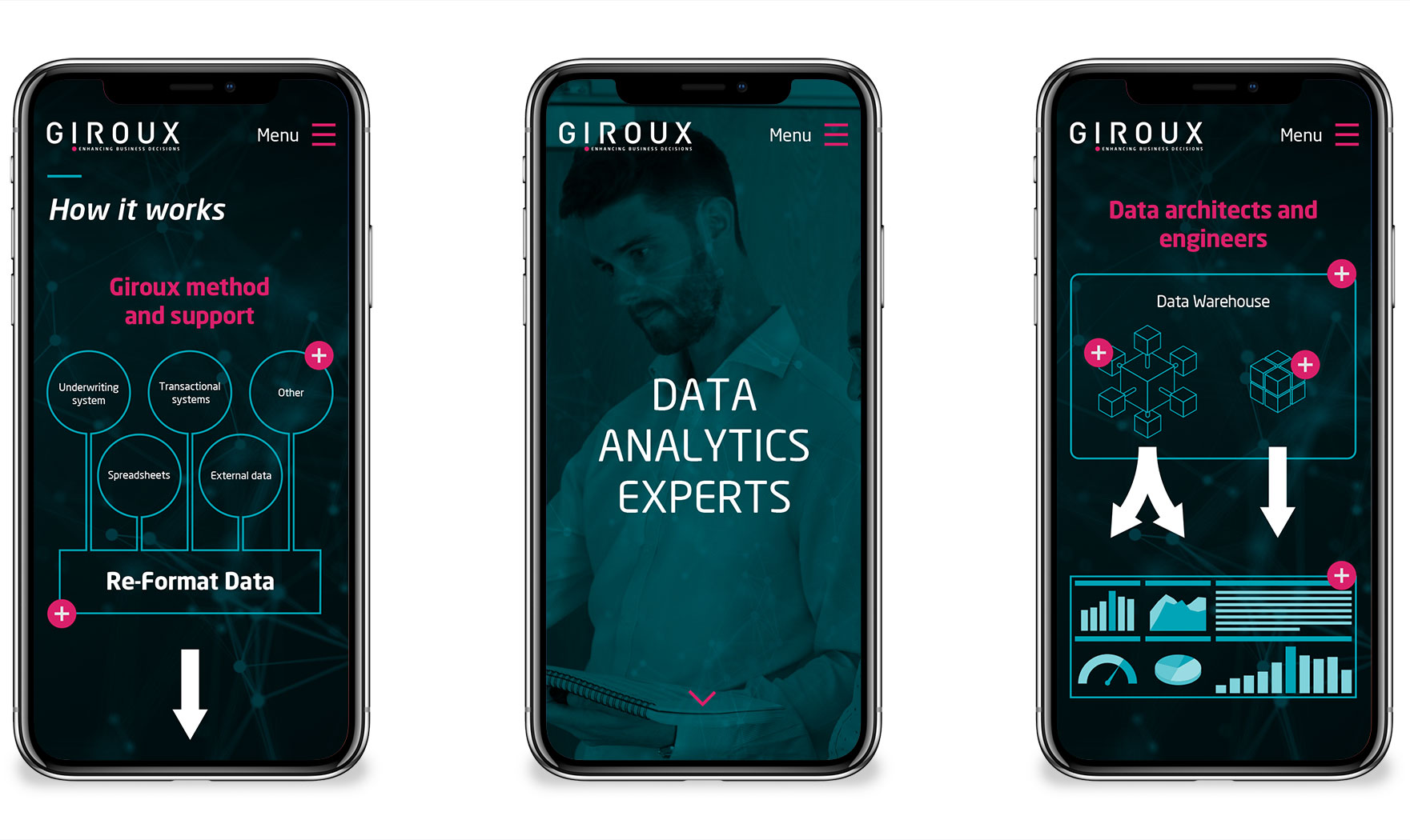 Giroux web app design visuals