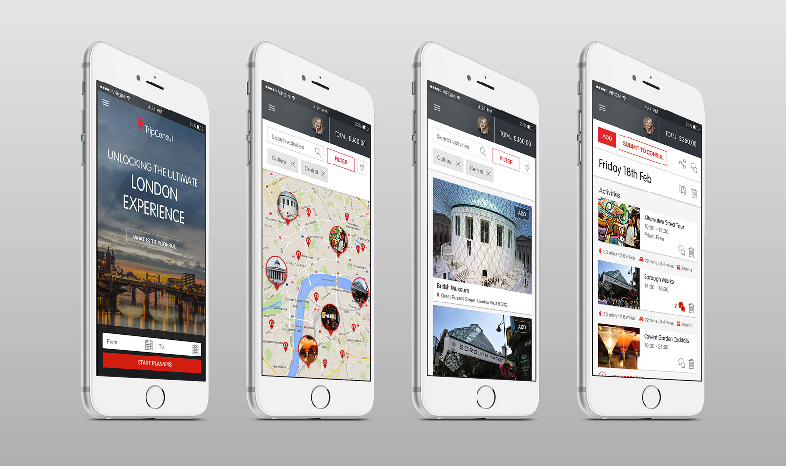 TripConsul app design on mobile