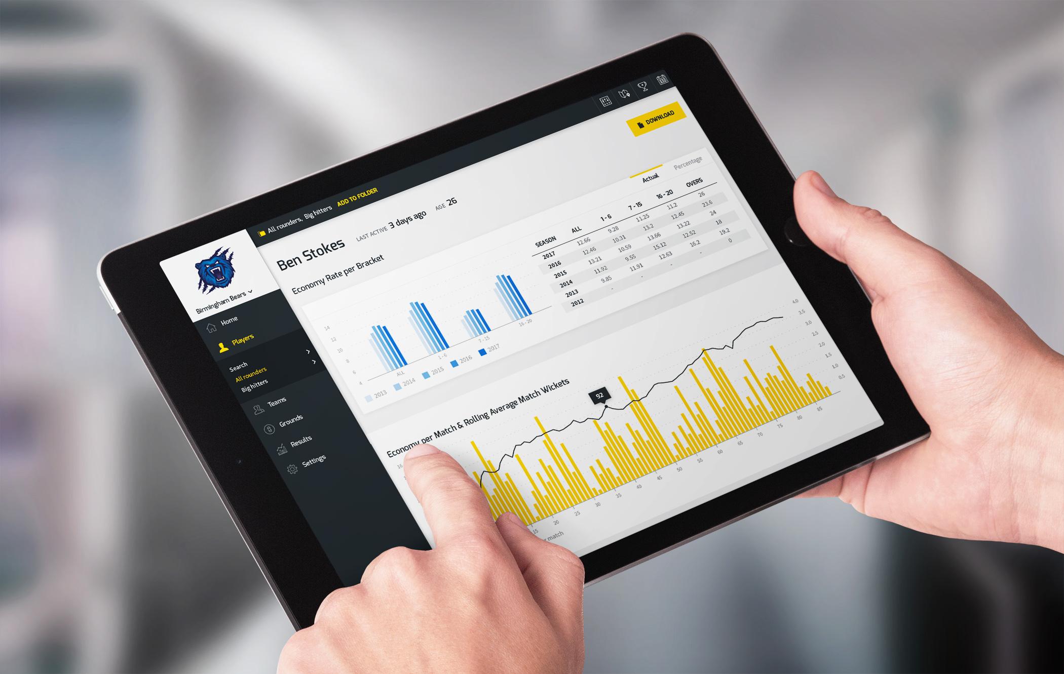 Cricket PIR user interface design on tablet