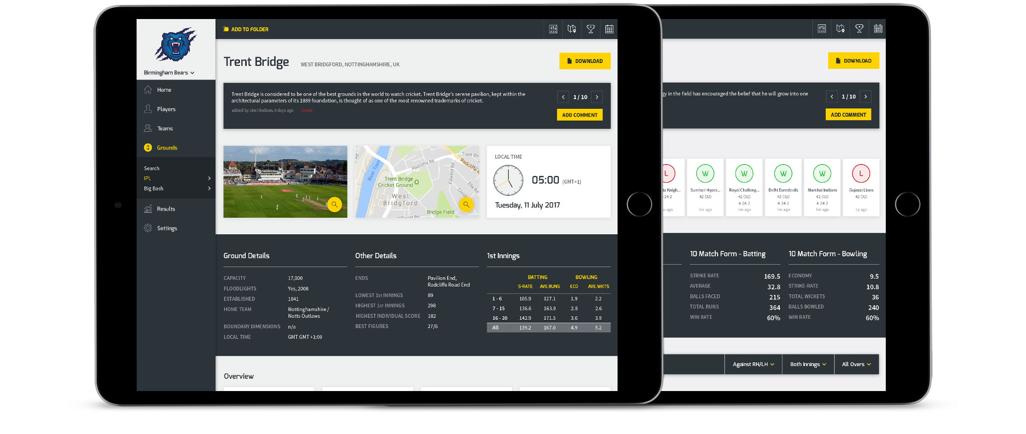 Cricket PIR iPad user interface layouts