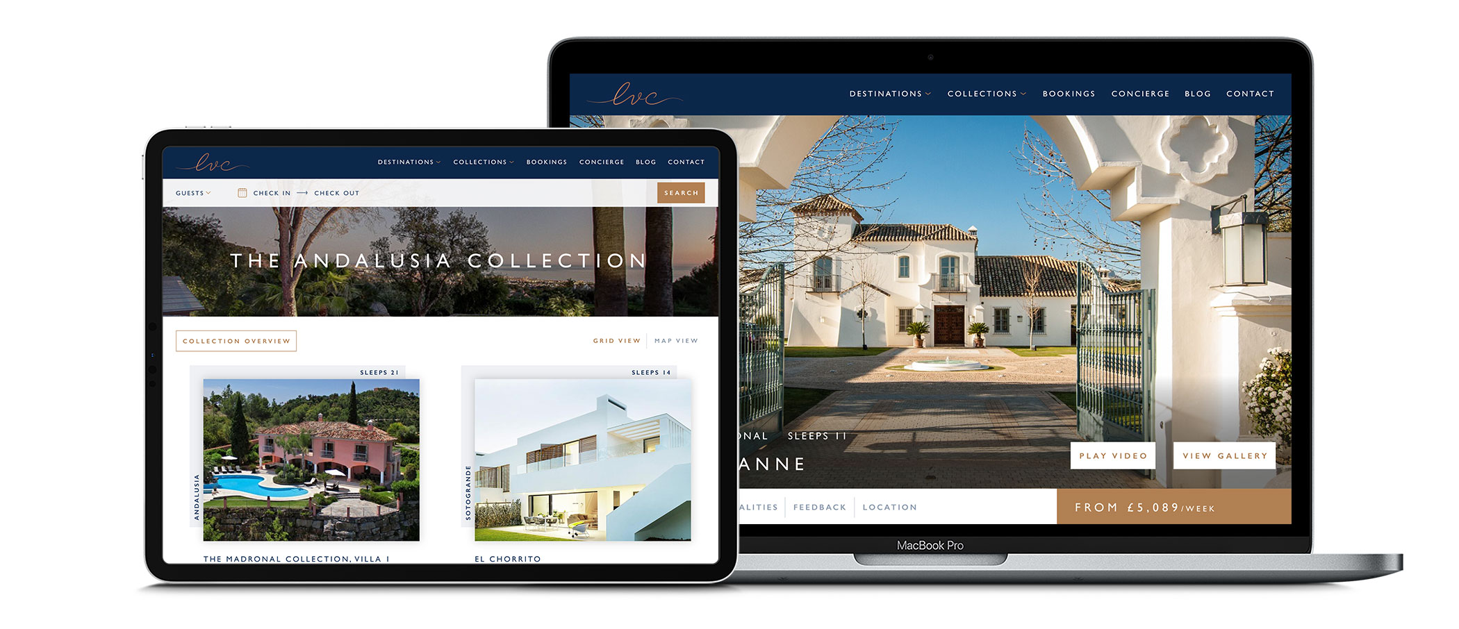 The Luxury Villa Collection website design on iPad and desktop