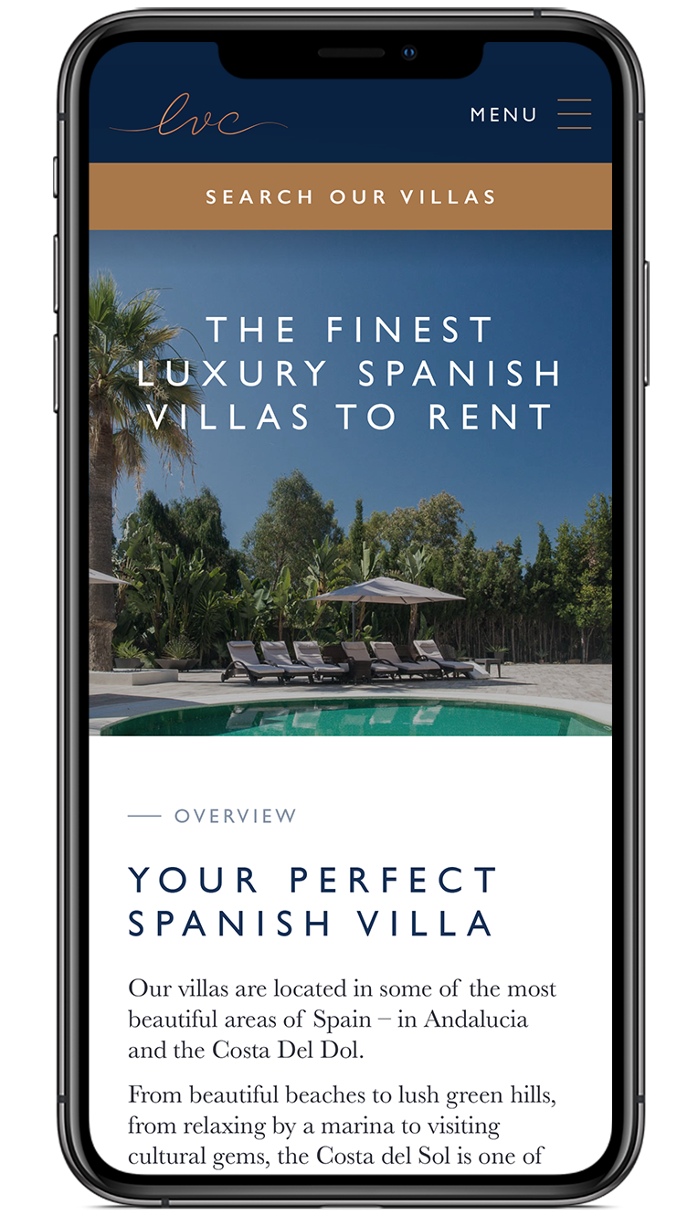 The Luxury Villa Collection homepage screen design on iPhone X