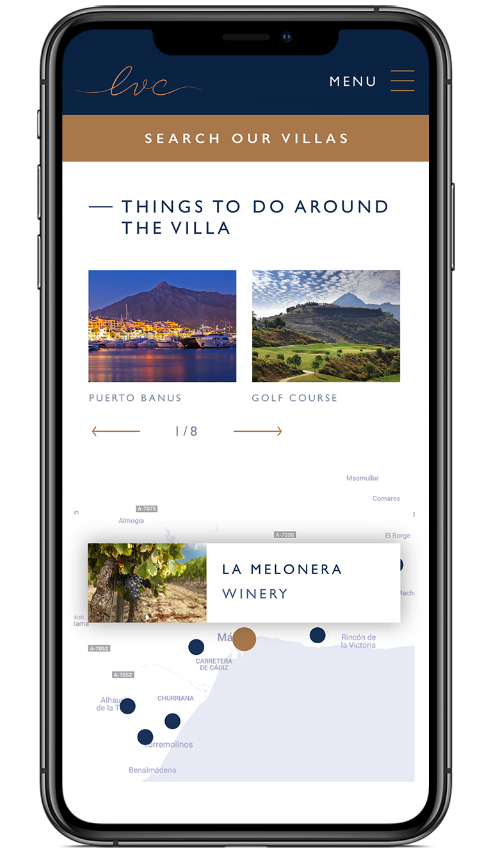 The Luxury Villa Collection villa description screen design on iPhone X