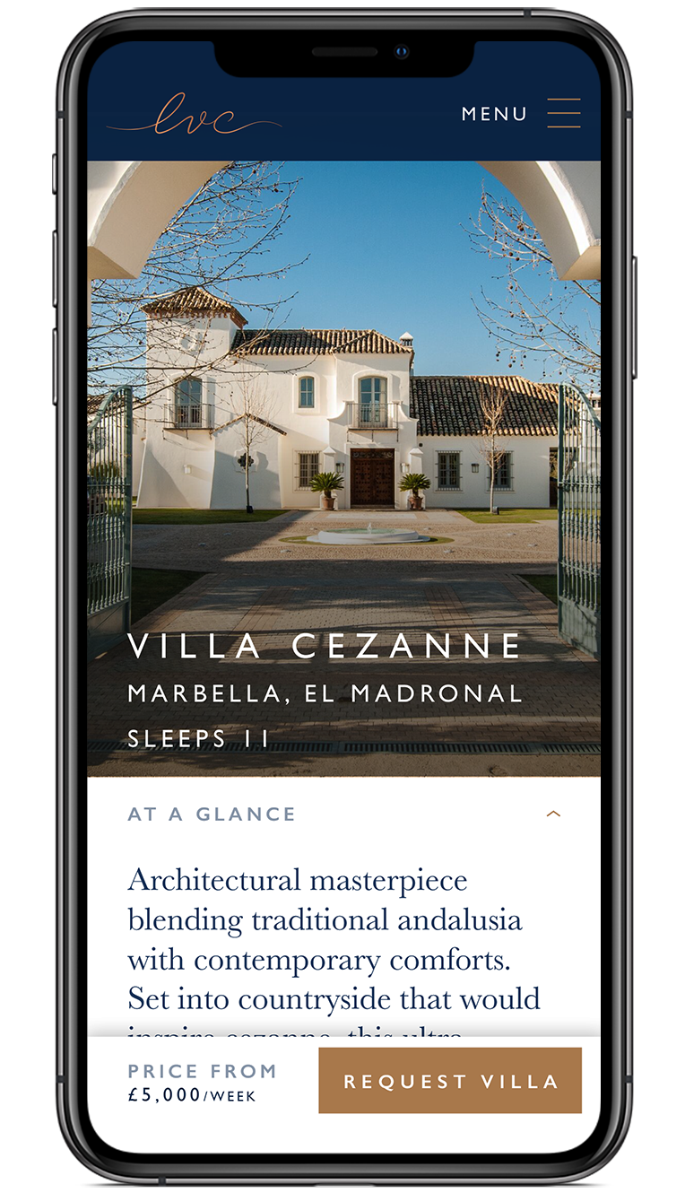 The Luxury Villa Collection villa availability screen design on iPhone X