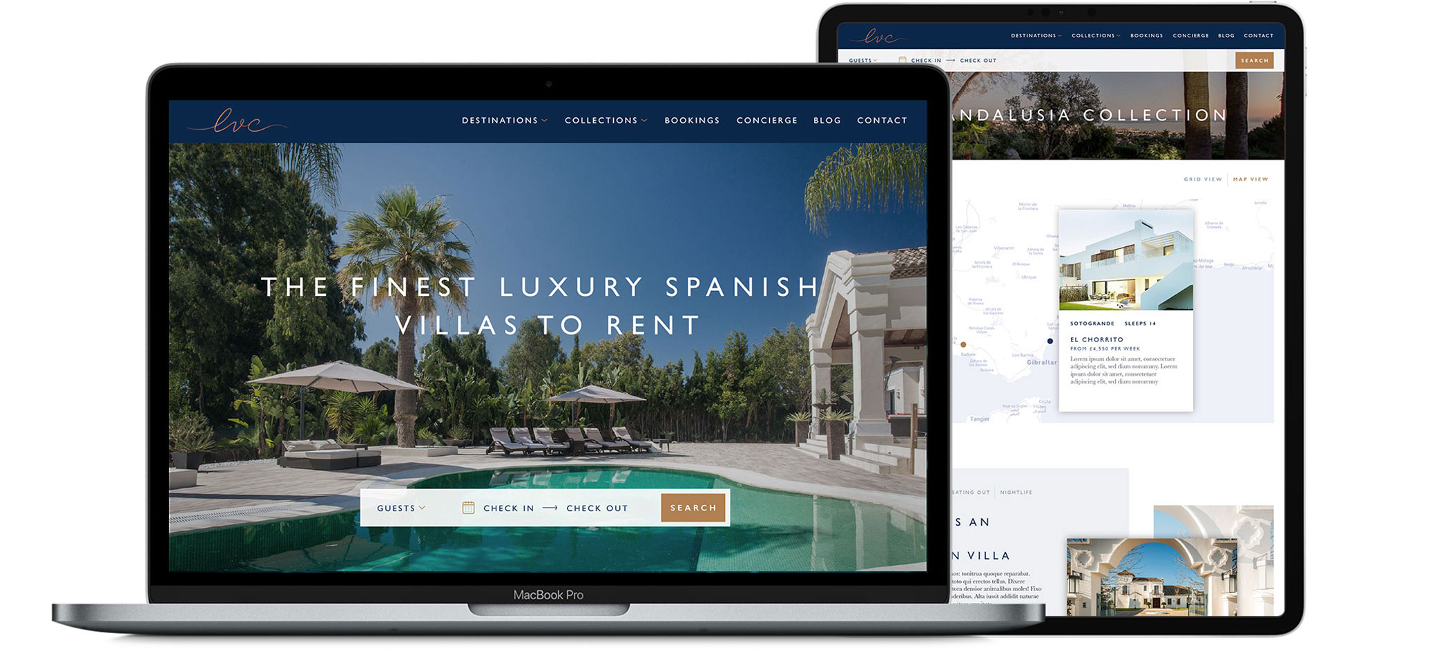 The Luxury Villa Collection website design on laptop and iPad