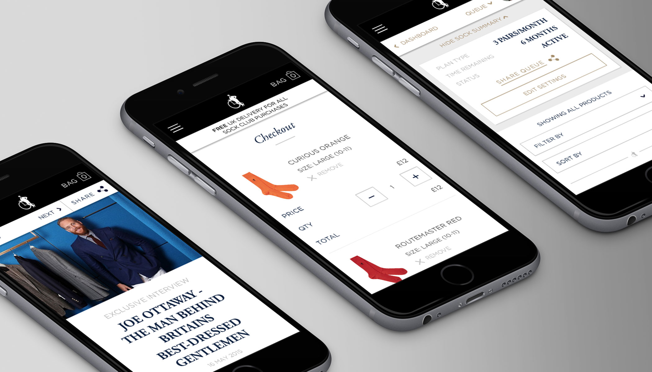 London Sock Company e-commerce website shown on mobile phones