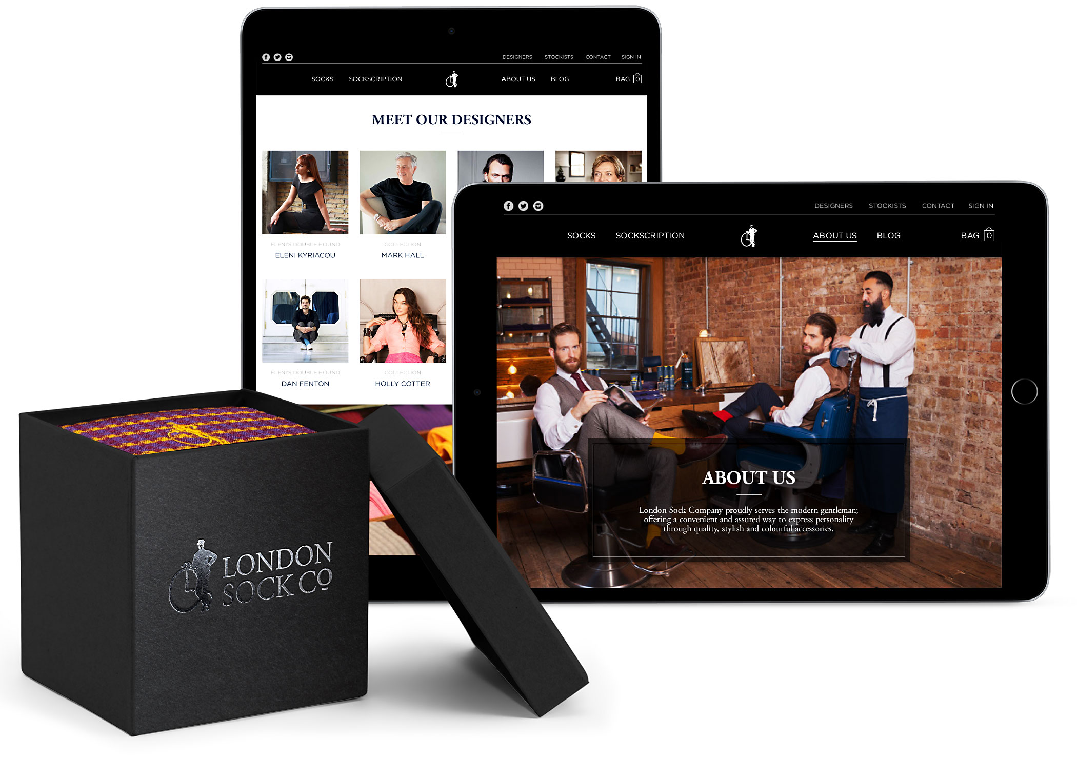 London Sock company branded sock packaging and e-commerce website