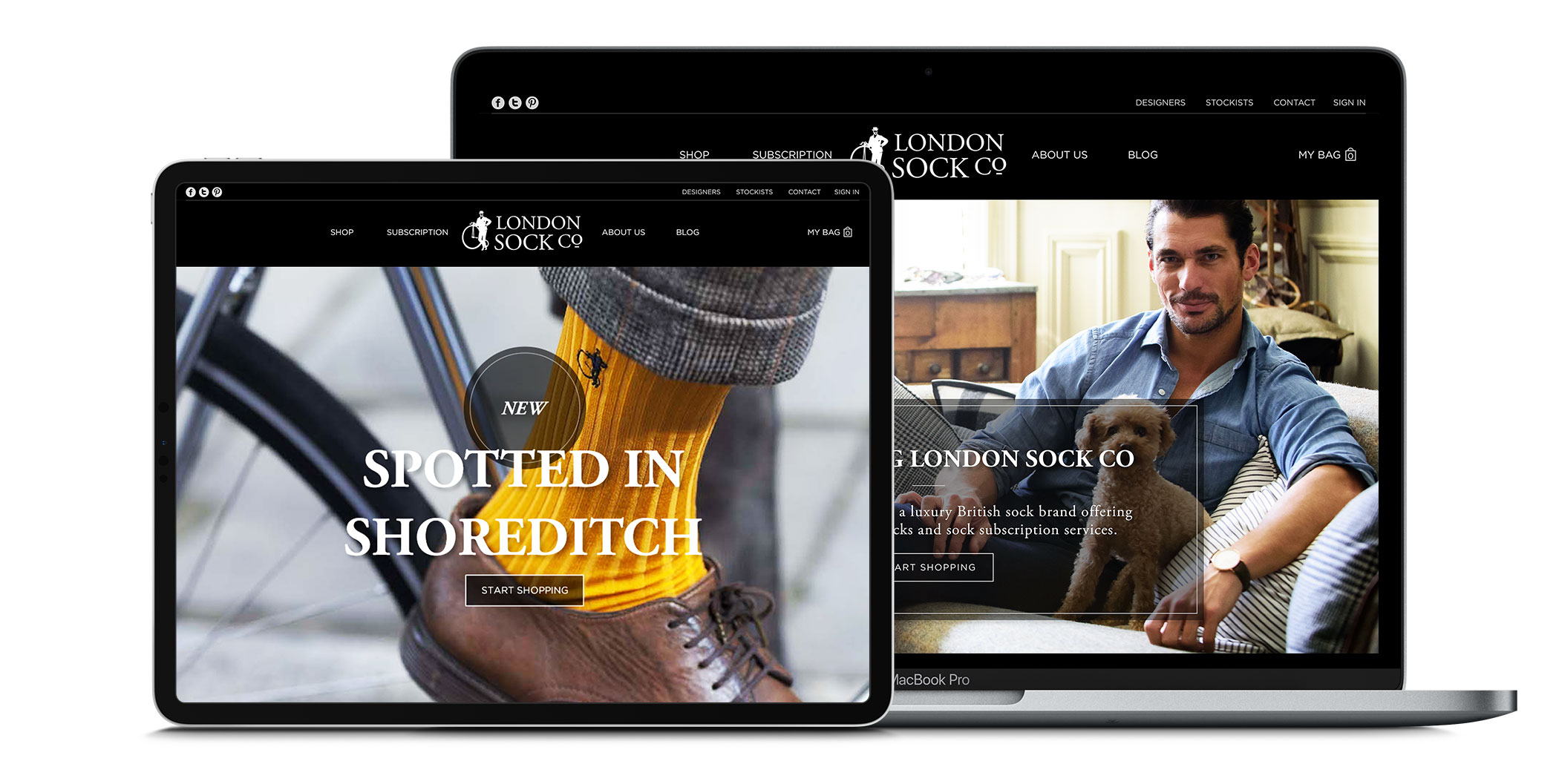 London Sock Company e-commerce website design shown on tablet