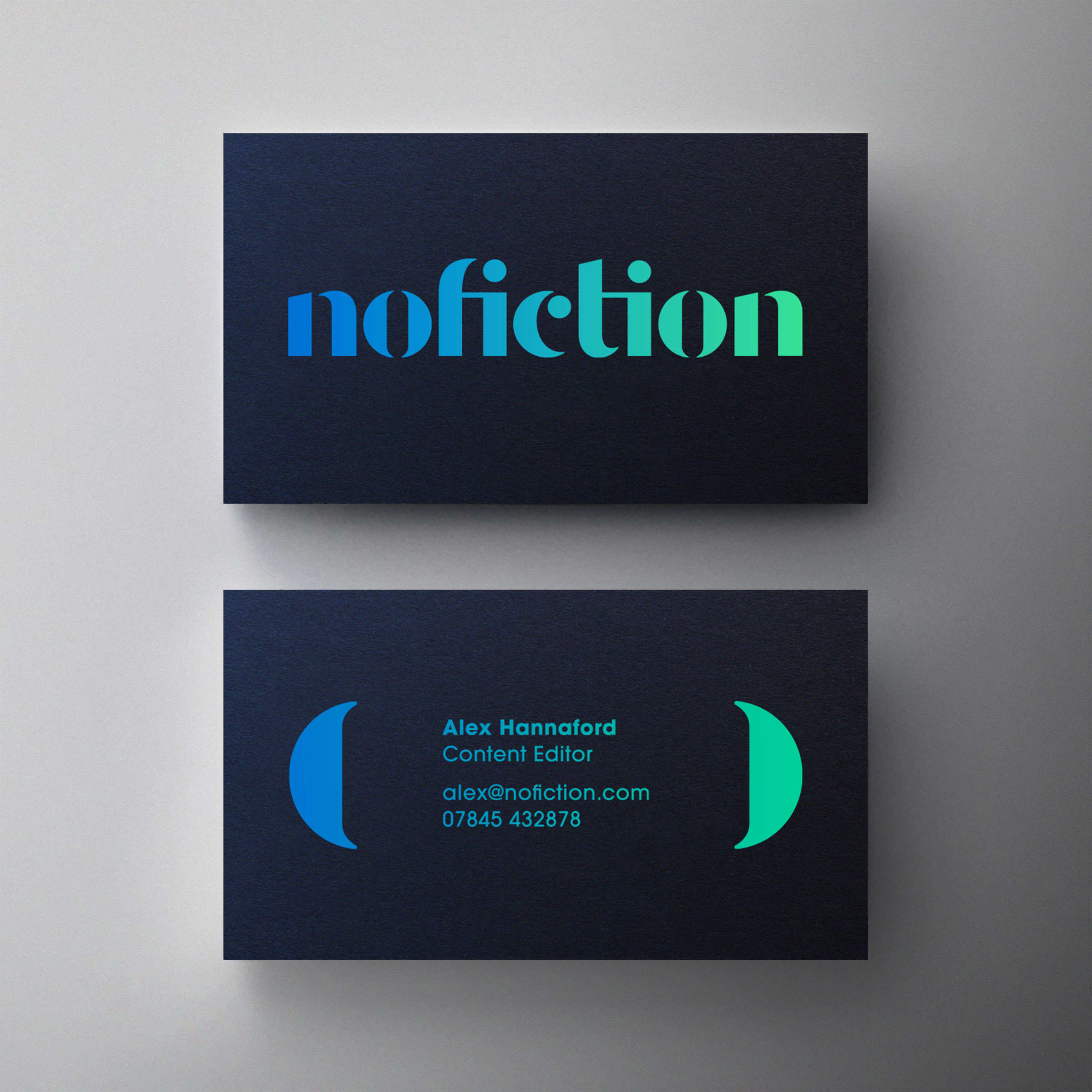 NoFiction business card design