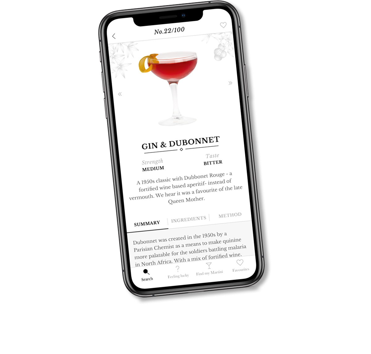 Sipsmith cocktail screen design on mobile