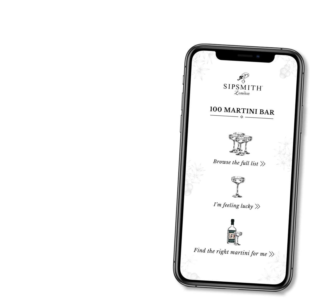 Sipsmith quiz page design on mobile