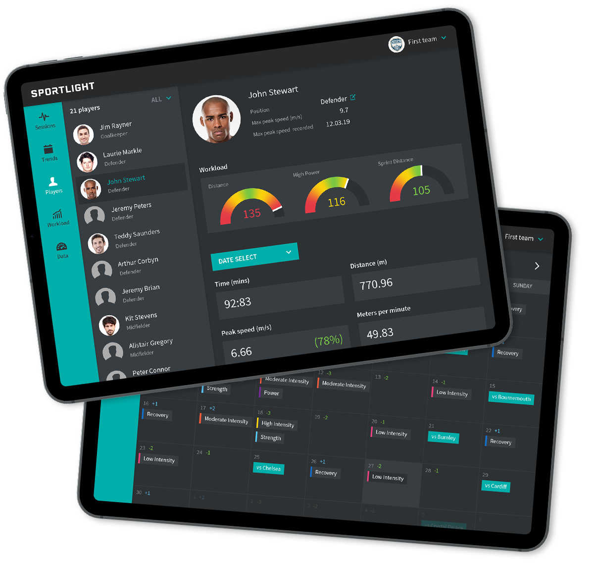 Sports Analytics application on iPad