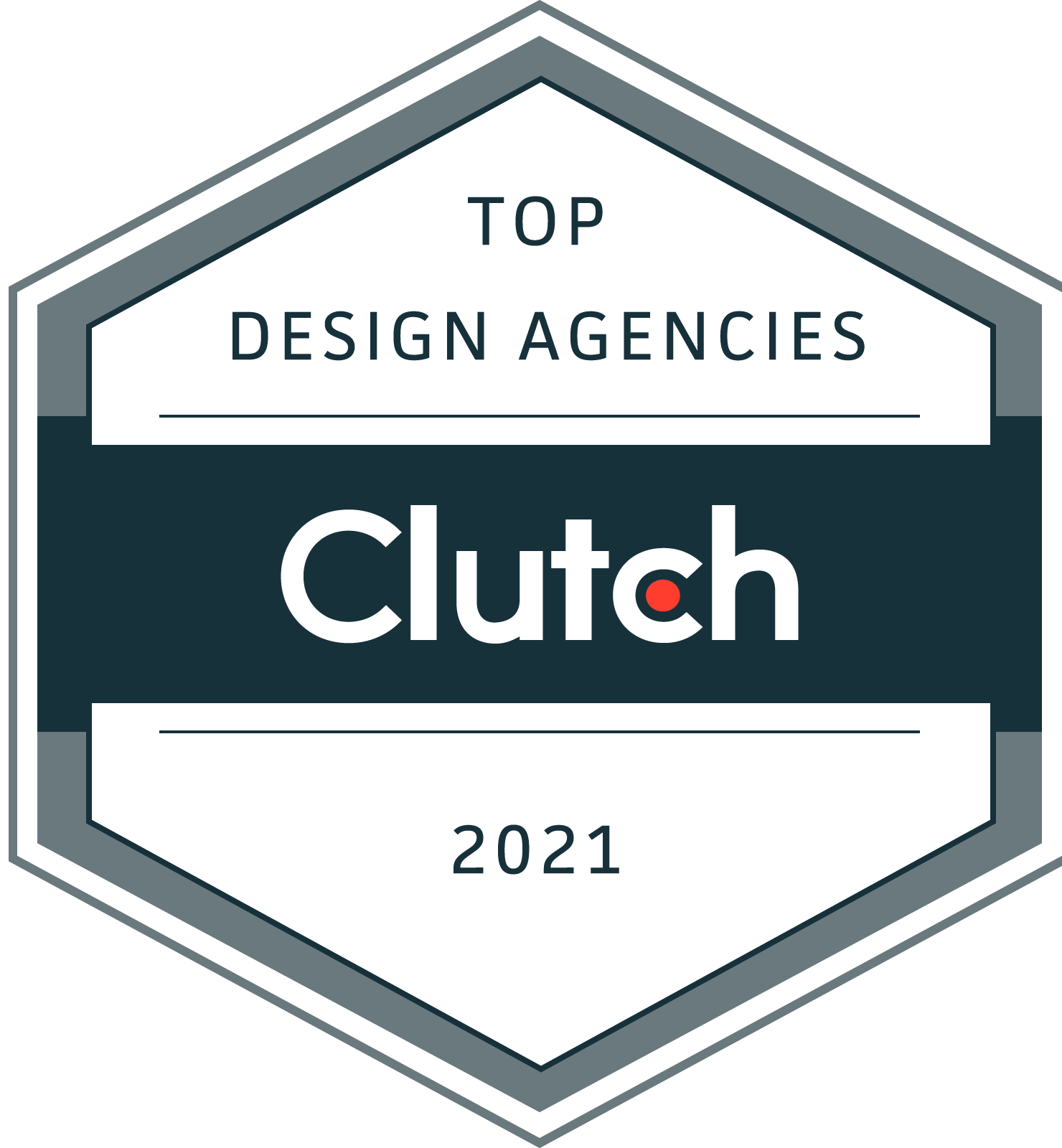 Clutch 2021 top design agency award badge
